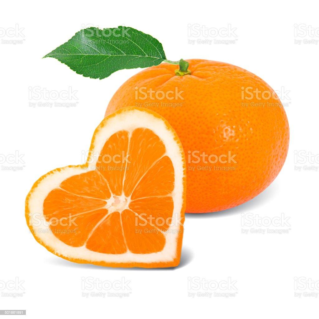 Orange heart stock photo