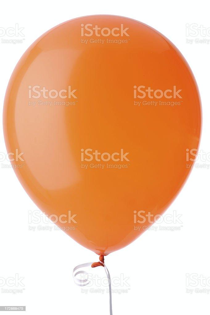 Orange Helium Balloon Isolated on White Background stock photo