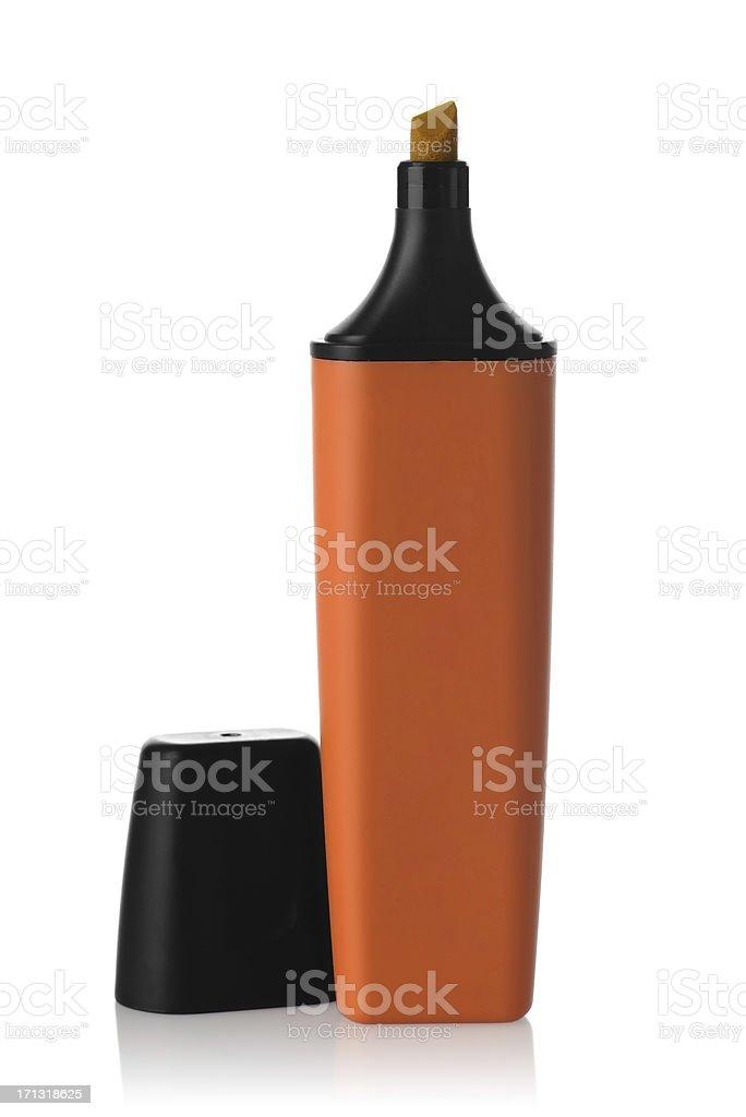 Orange highlighter pen stock photo