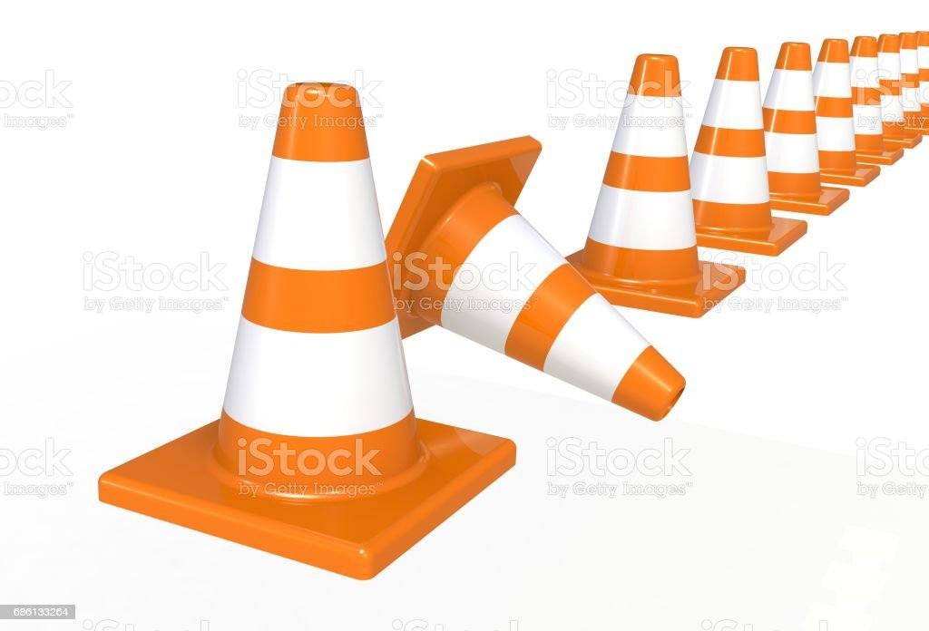 Orange highway traffic construction cones with white stripes isolated on white background stock photo
