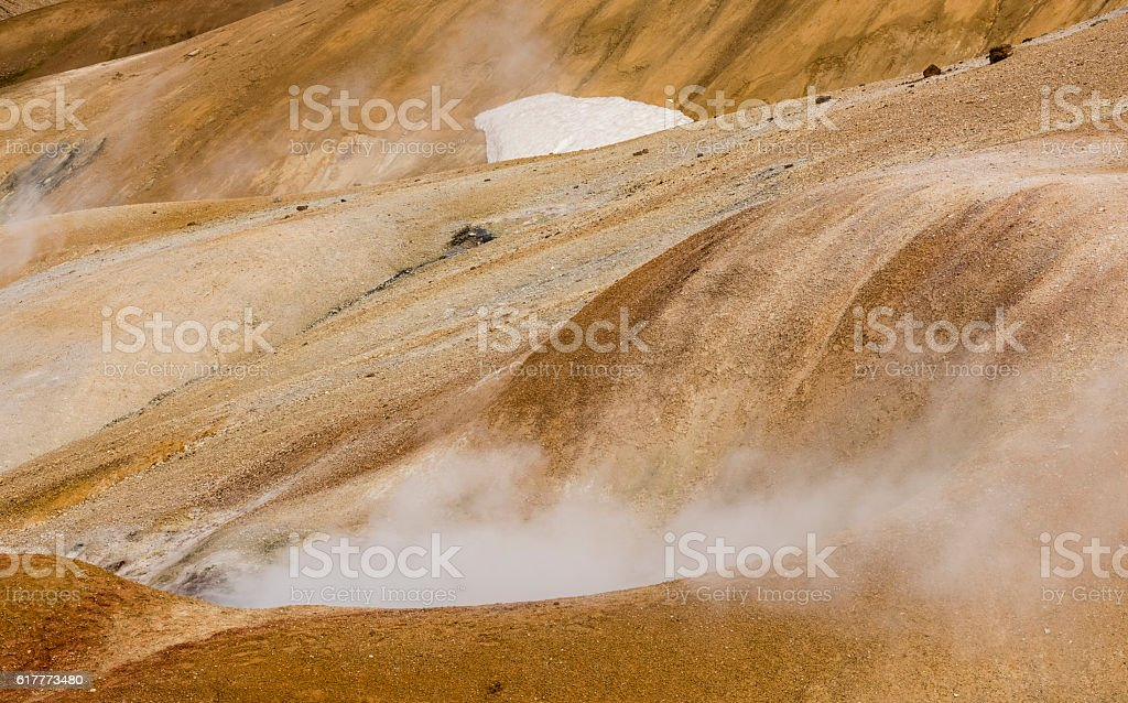 Orange Hills with Hot Steam in Kerlingarfjoll stock photo