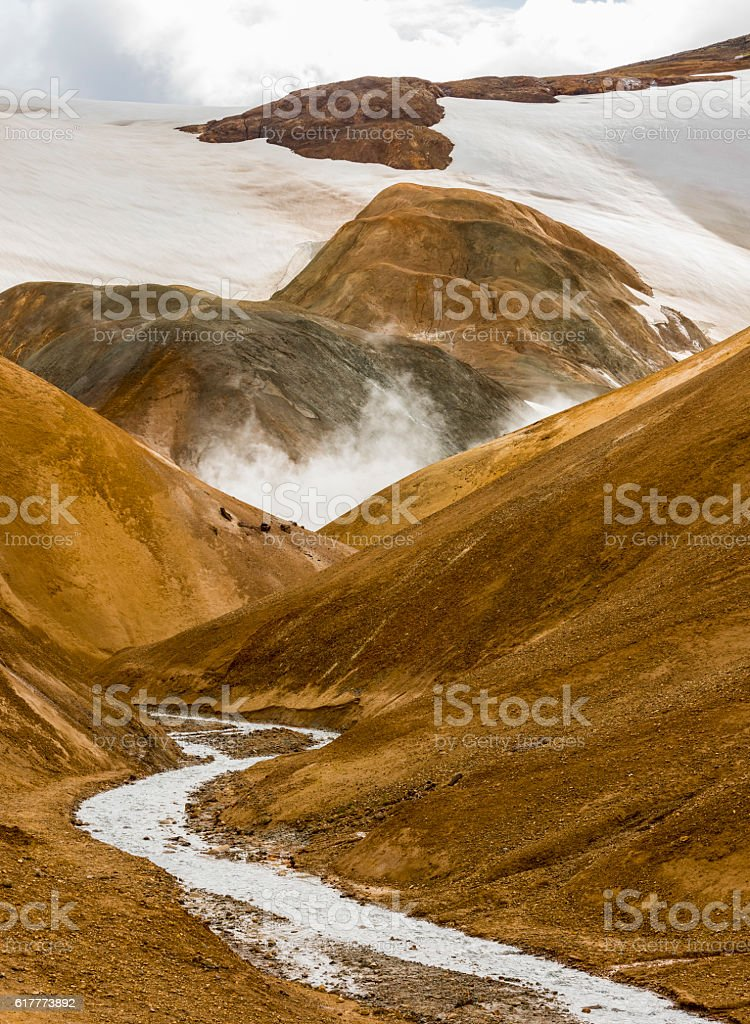 Orange Hills with Hot Steam Kerlingarfjoll Iceland stock photo