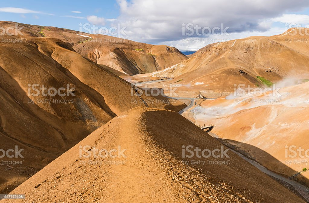 Orange Hills with Tourist in Kerlingarfjoll, Iceland stock photo