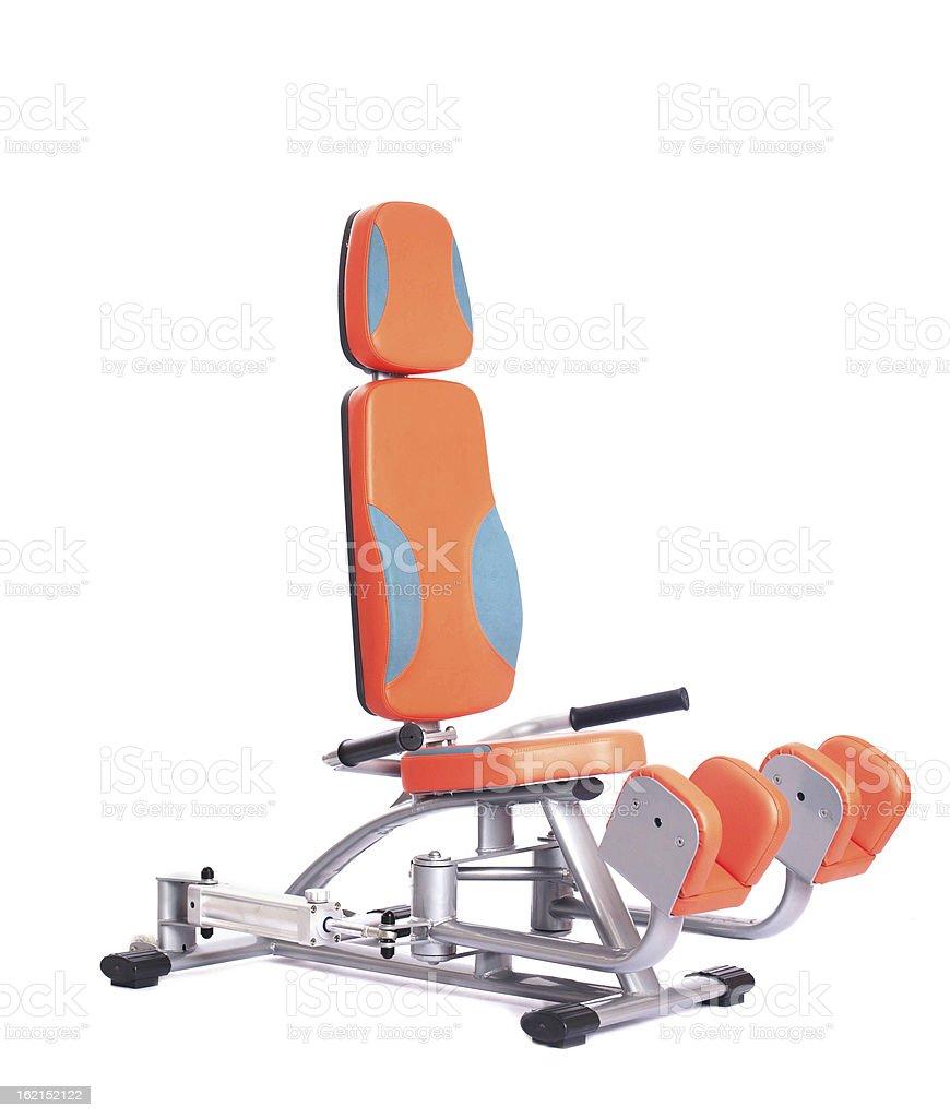 Orange hydraulic exerciser. Isolated on white royalty-free stock photo