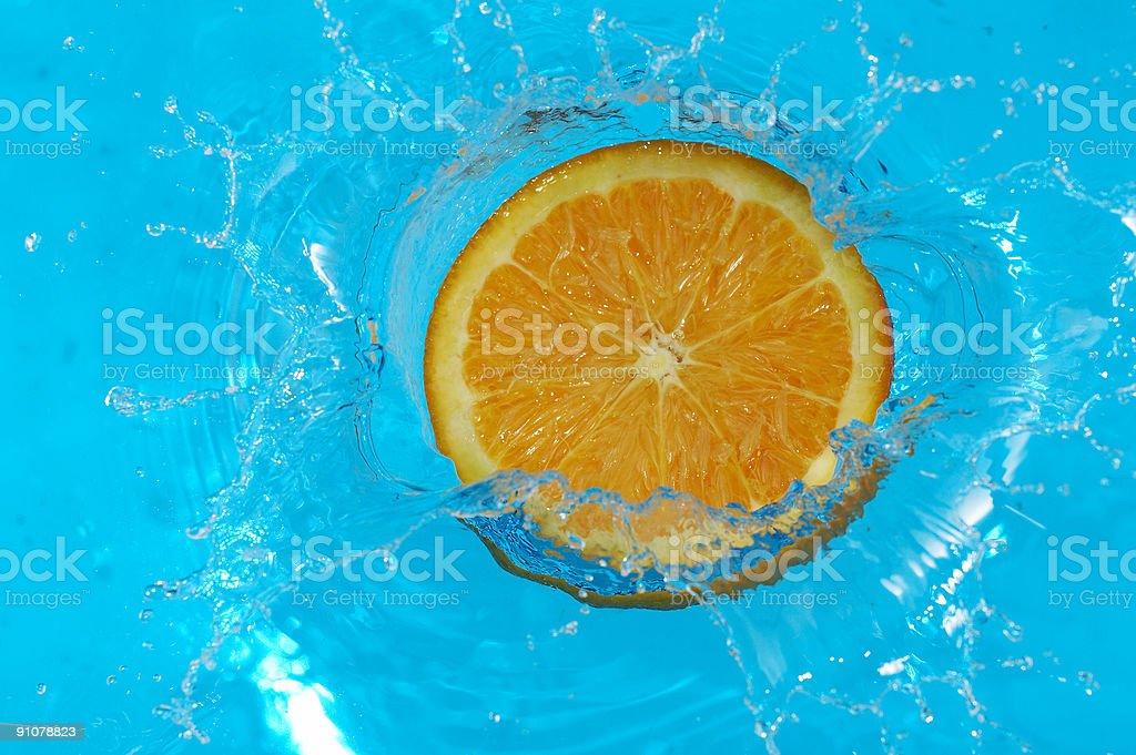 orange in blue royalty-free stock photo