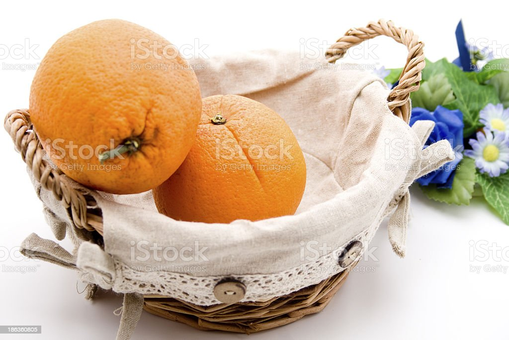 Orange in the basket royalty-free stock photo