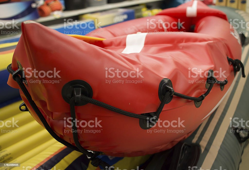 orange inflatable raft royalty-free stock photo