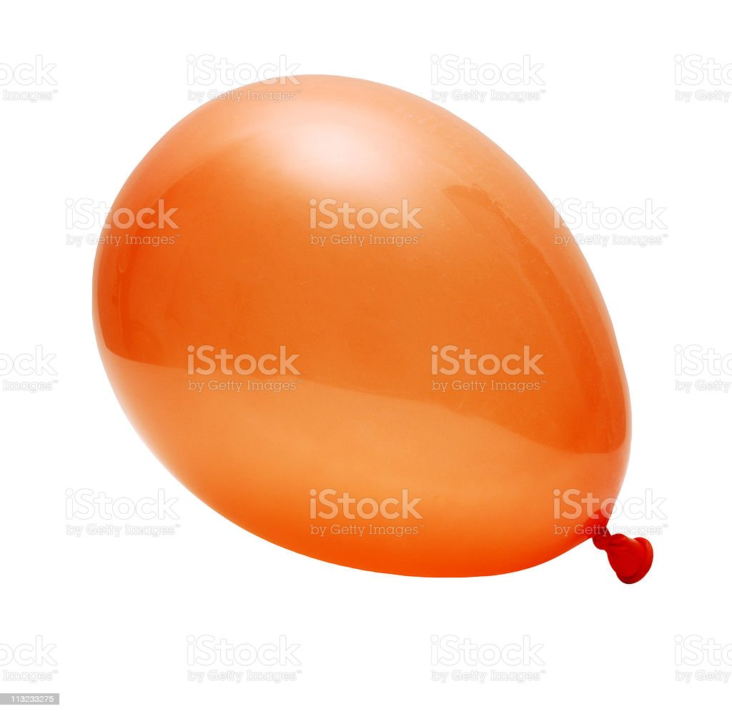 orange inflated party balloon isolated against white stock photo