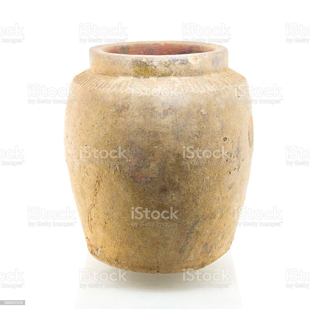 Orange jar isolated on white background stock photo