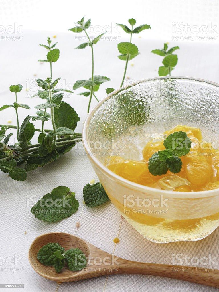 Orange jelly and mint royalty-free stock photo
