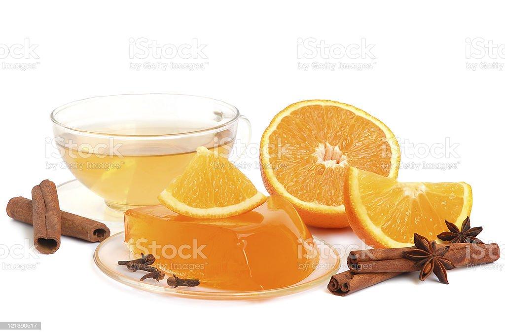 Orange jelly and tea royalty-free stock photo