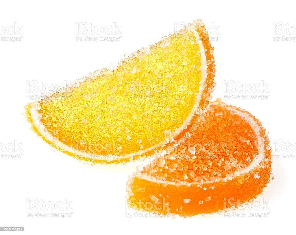 Orange jelly candy isolated on white background stock photo