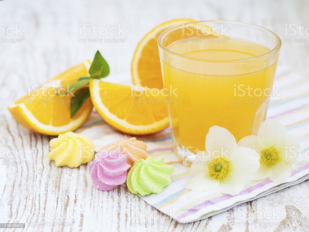 Orange juice and cookies royalty-free stock photo