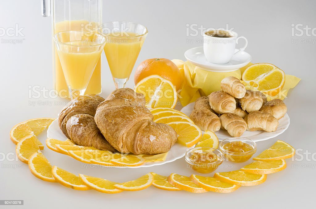 Orange juice and croissants breakfast. royalty-free stock photo