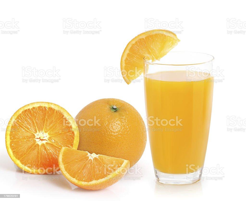 Orange juice and slices royalty-free stock photo