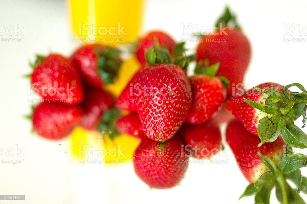 Orange Juice and Strawberries stock photo