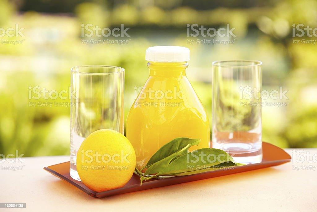 Orange juice for two served early morning at luxury resort royalty-free stock photo