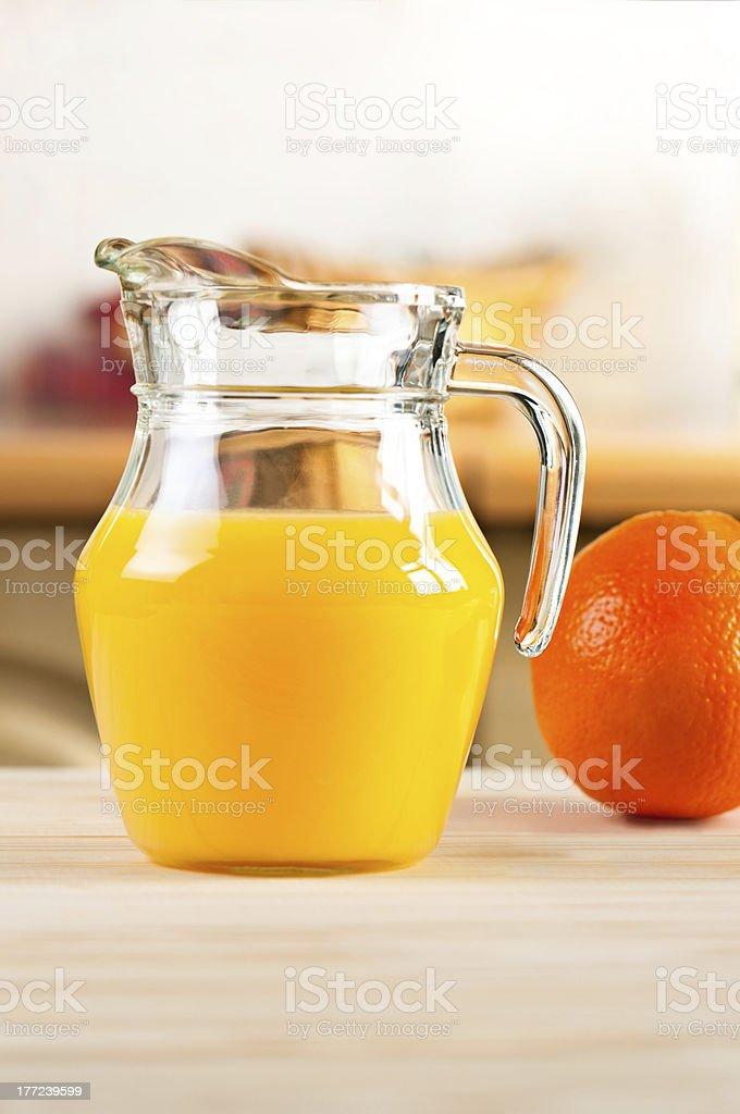 Orange juice in a glass jar royalty-free stock photo