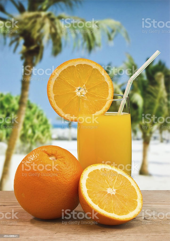 orange juice in a glass on table royalty-free stock photo