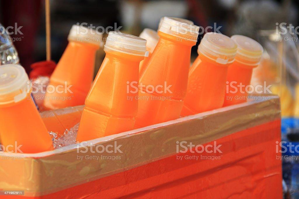 Orange juice in Ice Box stock photo