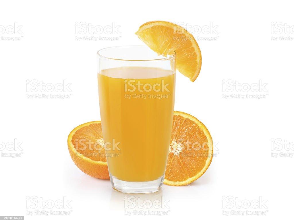 Orange juice isolated on white stock photo