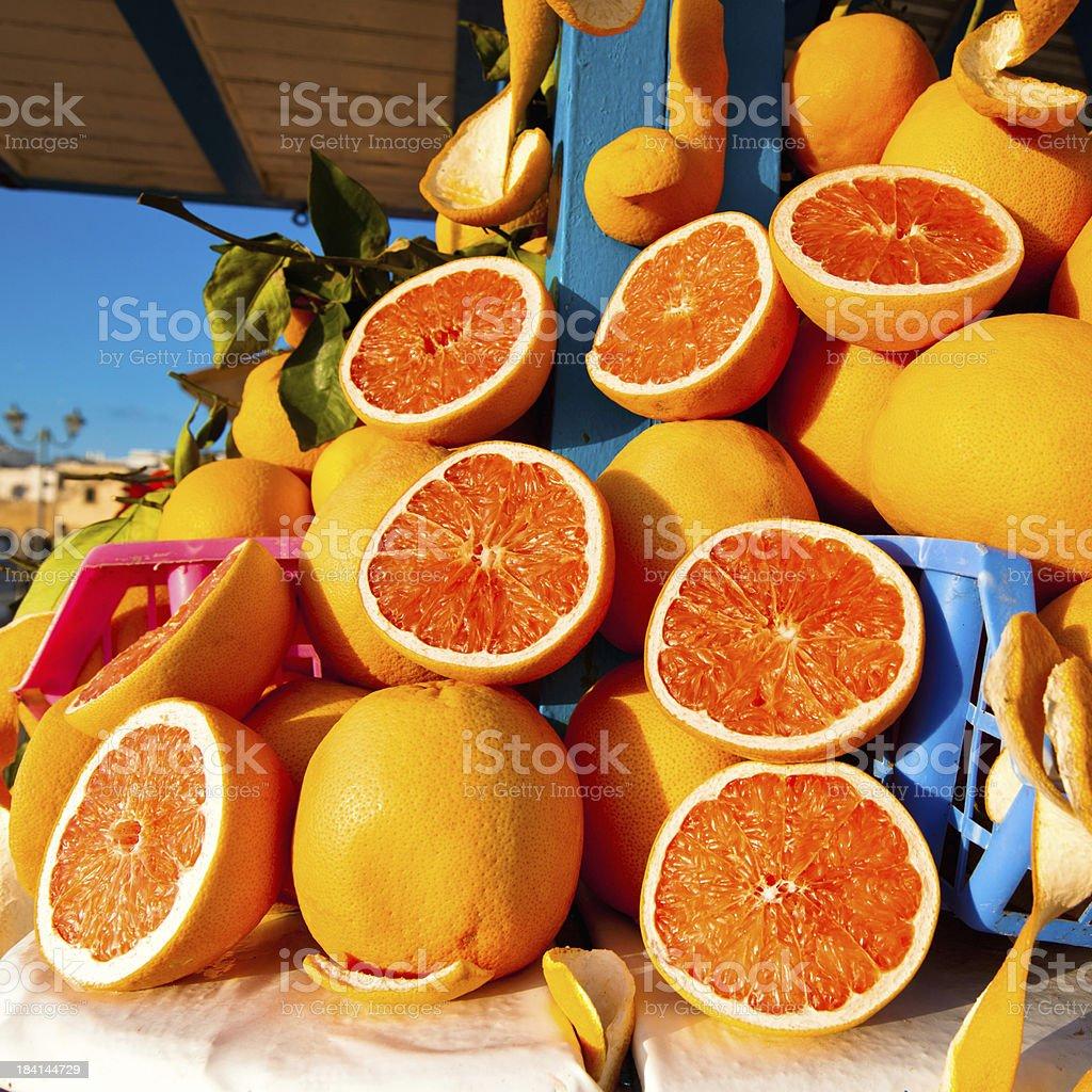 Orange Juice Market Stall Morocco royalty-free stock photo