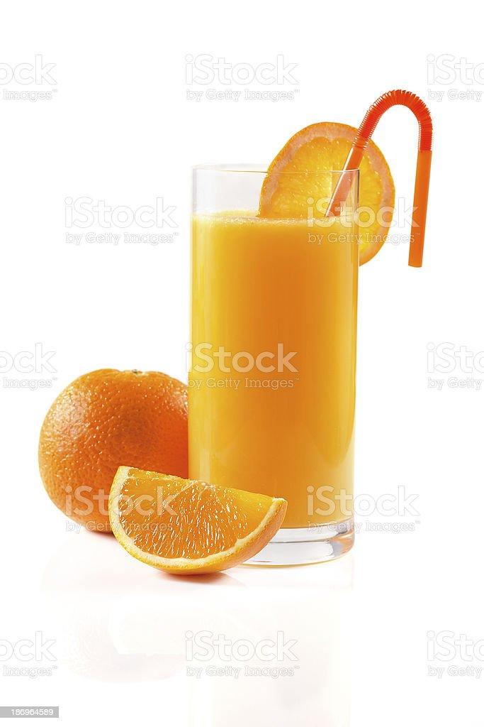 Orange juice on white royalty-free stock photo