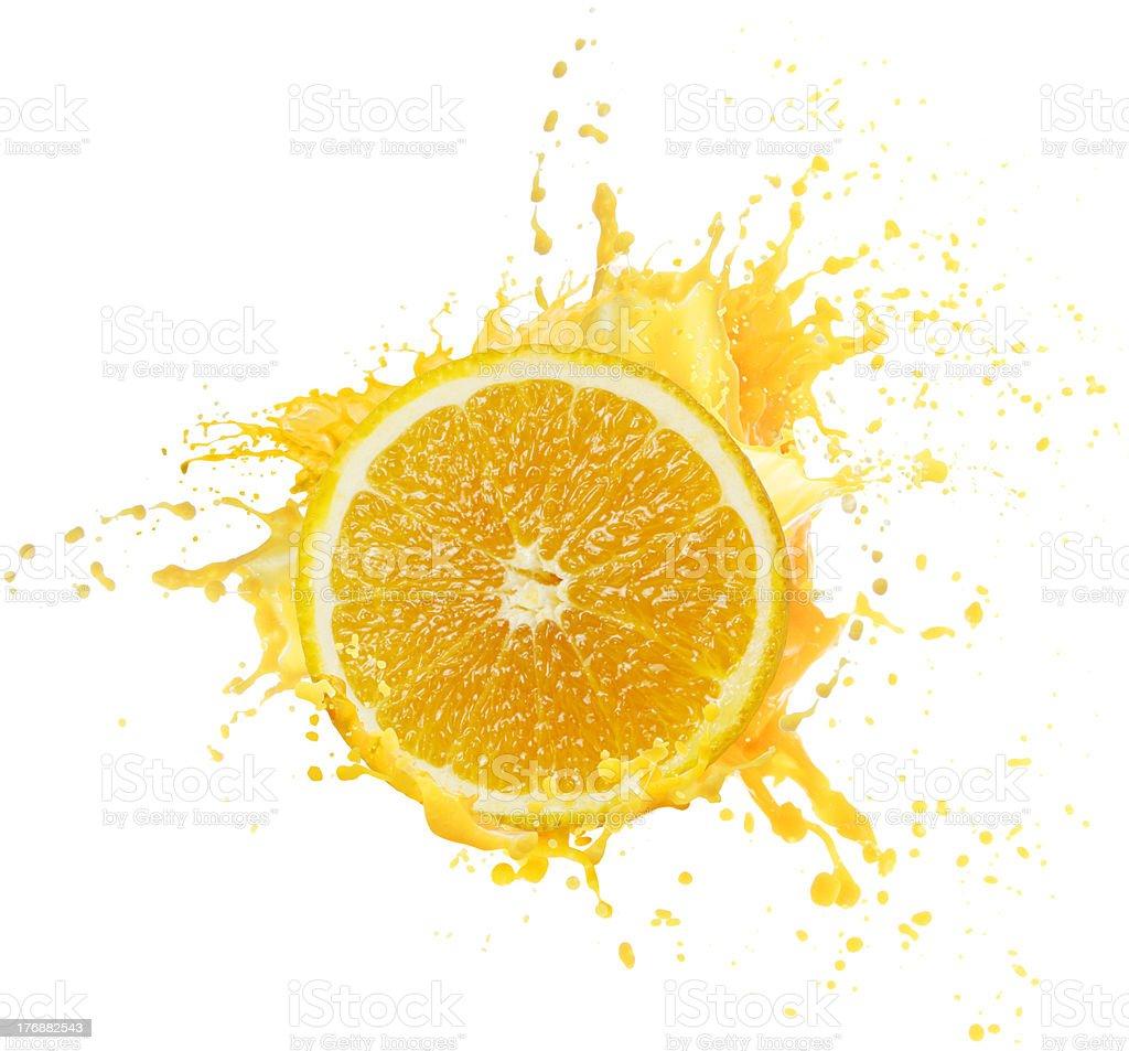 Orange juice splashing royalty-free stock photo