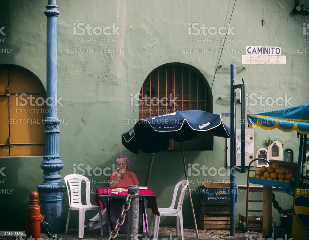 Orange Juice Vendor La Boca, Buenos Aires stock photo