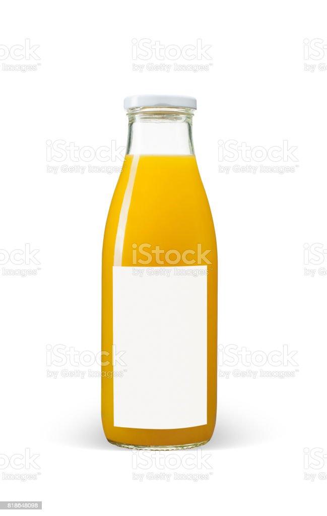 Orange juices bottle with blank label on white background stock photo