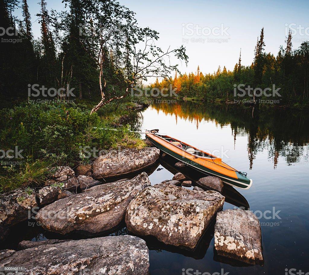 orange kayak stock photo