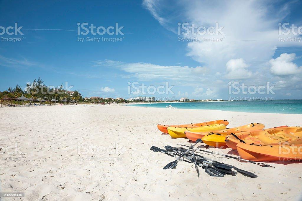 Orange kayaks. stock photo