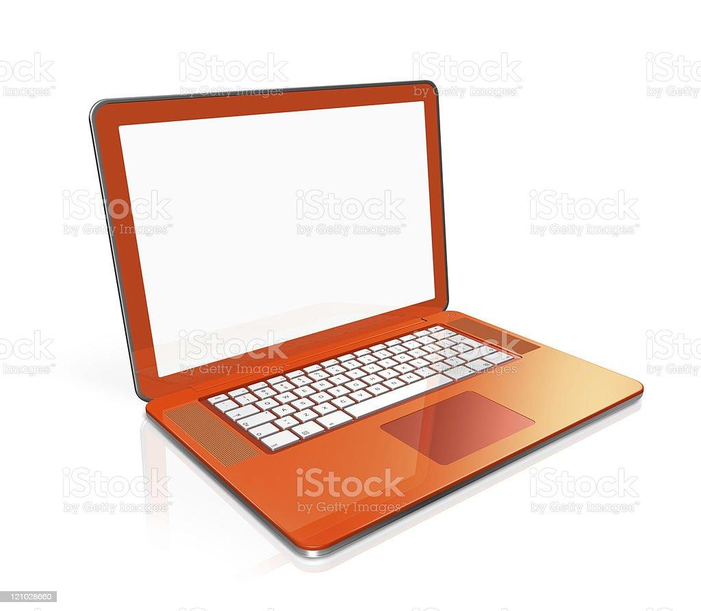 orange Laptop computer isolated on white stock photo