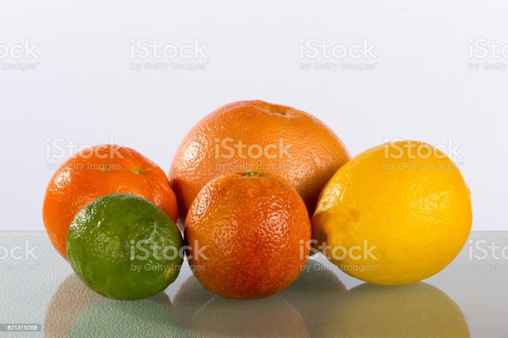 Orange Lemon Lime Grapefruit Medley with Reflection stock photo