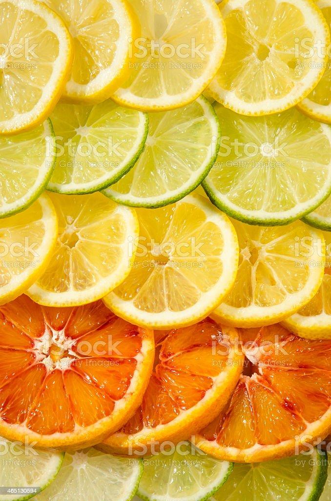 orange, lemon, lime slices stock photo
