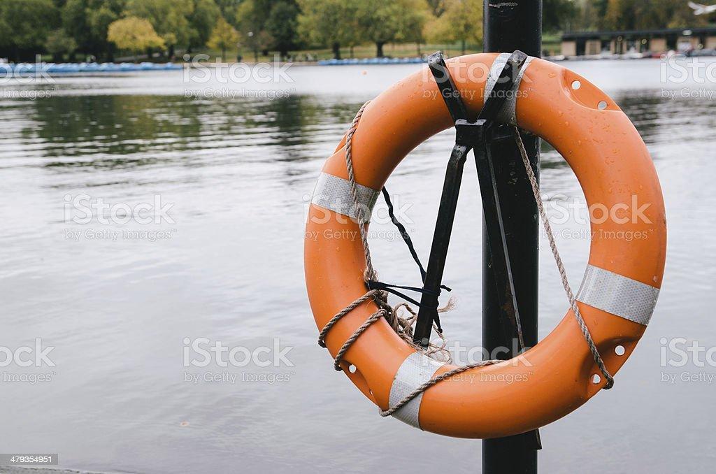 Orange life belt stock photo