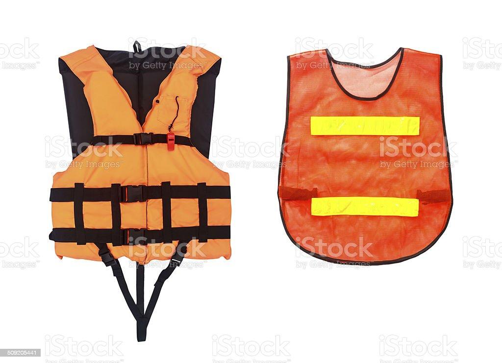 Orange Life Jacket  and  vest  isolated on white, clipping stock photo
