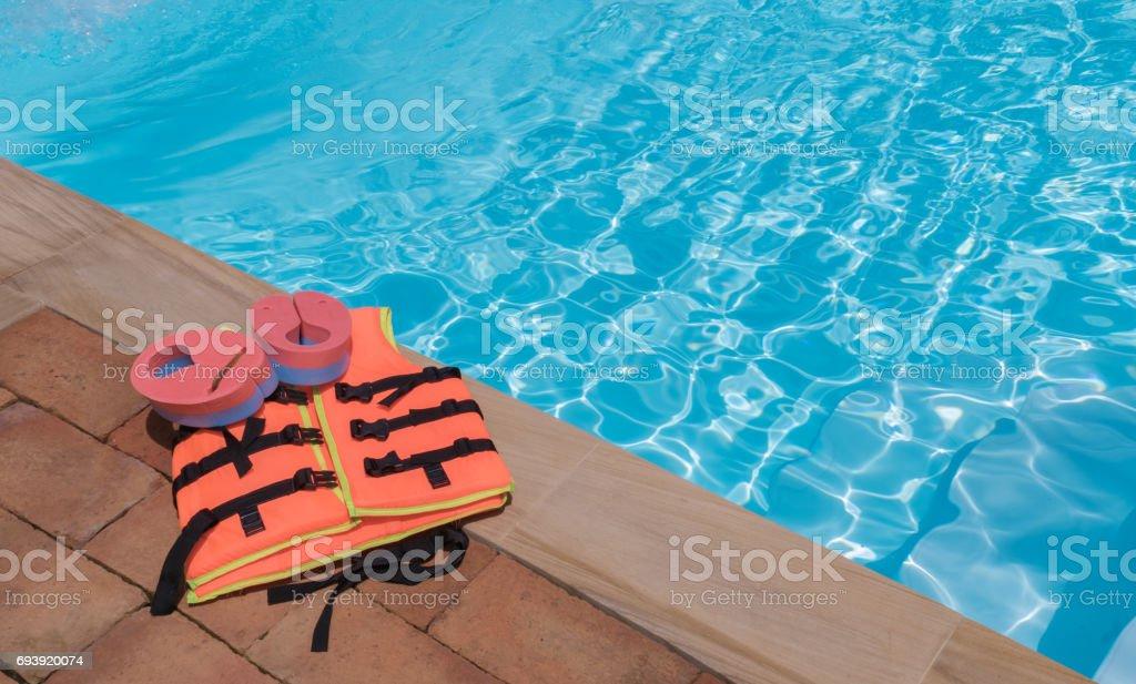Orange life jackets stock photo