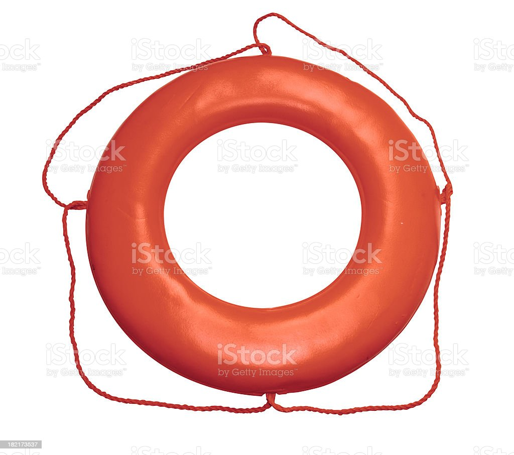 Orange Life Ring on White with Clipping Path royalty-free stock photo