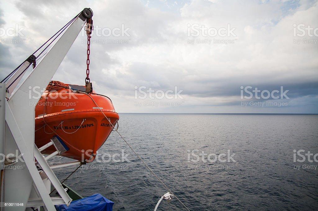 Orange lifeboat image stock photo