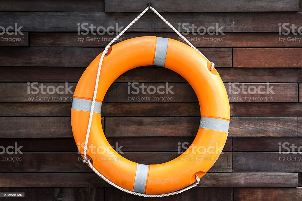 orange lifeguard stock photo