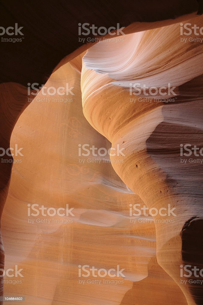 Orange light in canyon walls royalty-free stock photo