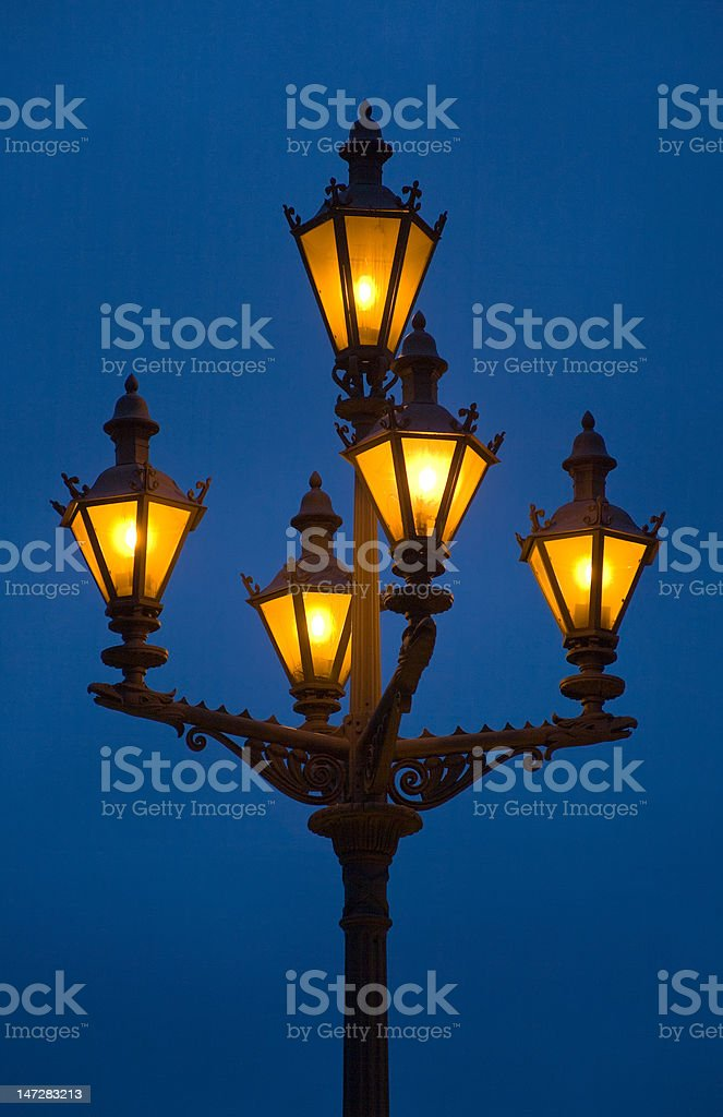 Orange light on a dark blue royalty-free stock photo