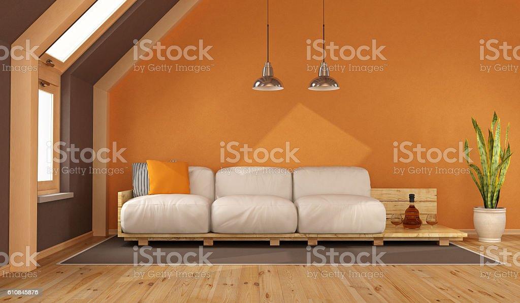 Orange living room in the attic stock photo