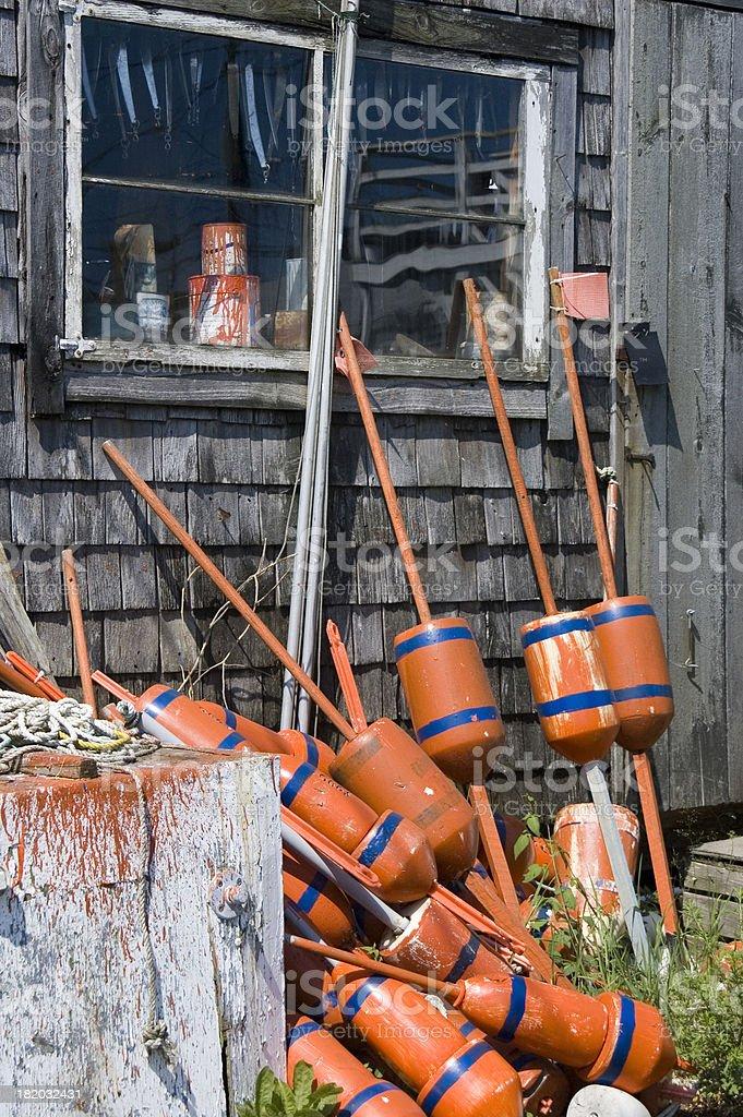 Orange lobster buoys royalty-free stock photo