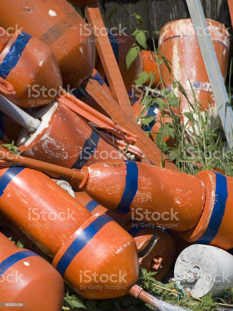 Orange lobster buoys stock photo
