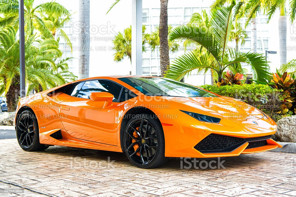 Orange luxury sport car Lamborghini Aventador stock photo