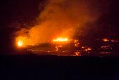 Orange Magma Errupting Inside Hawaii's Kilauea Volcano Crater