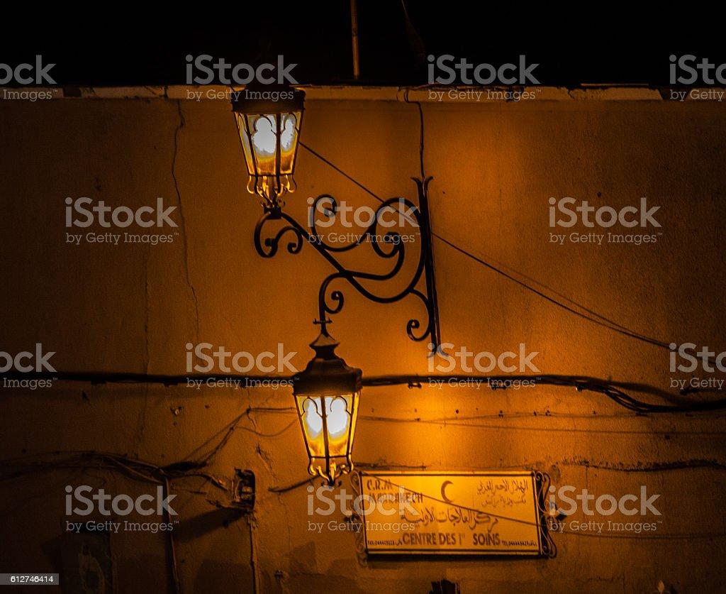 Orange Marrakech lamp stock photo