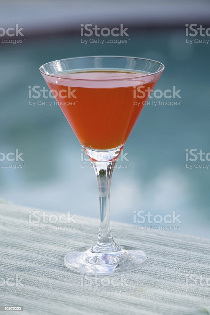Orange Martini by the Pool royalty-free stock photo